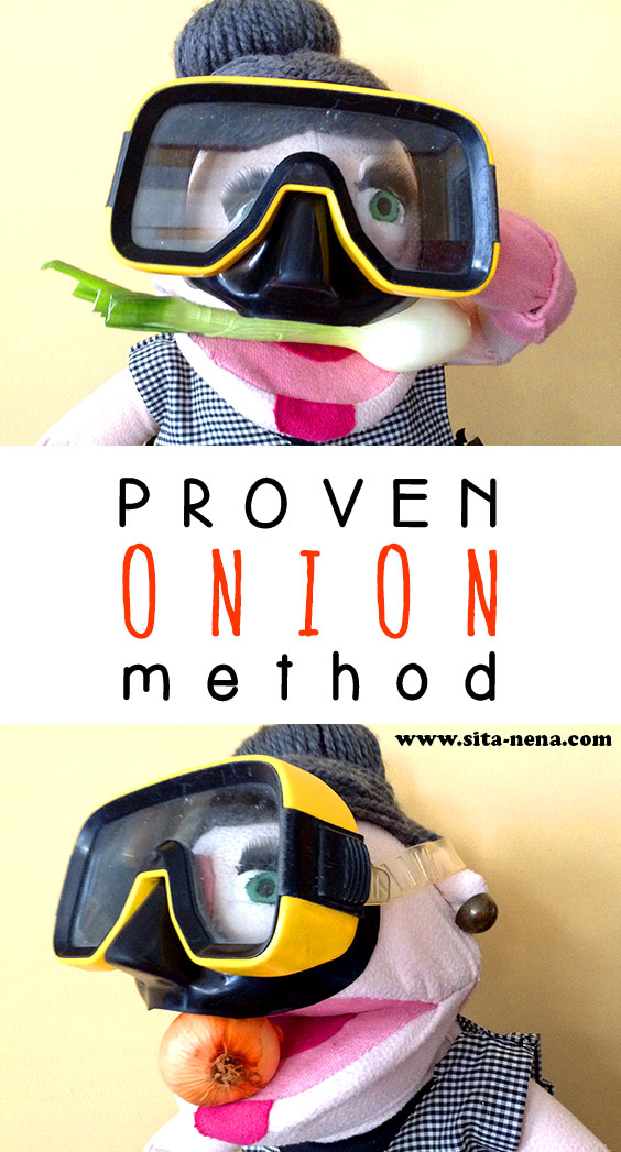 """Swimming goggles: cut onion proben method"" // Cooking tip from Grandma Sita"